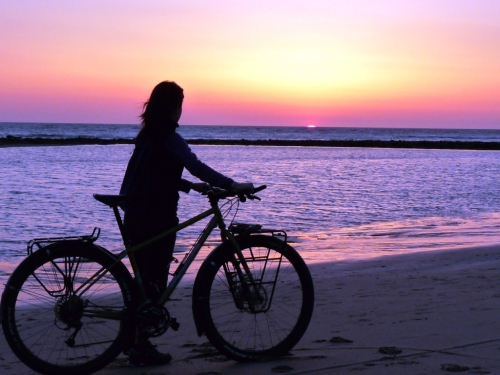 Even our heavy bikes wanted to take in the sunset.
