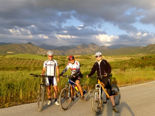 Cesar and Dorith, along side Marc with the Sierra Nevada in the background.