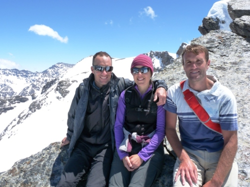 On our way to the summit. Marc, Elsa and Jonas.