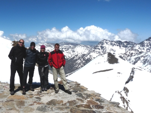 Our crew. Alejandro, Marc, Elsa and Jonas. Top of Pico Veleta, 3400m.