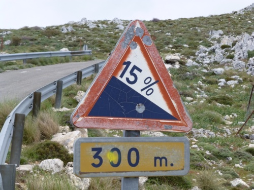 Yes, it was steep! Some poor cyclist got frustrated enough to shoot the sign...
