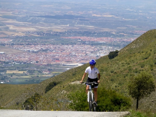 Elsa, on form on El Purche with Granada in the background
