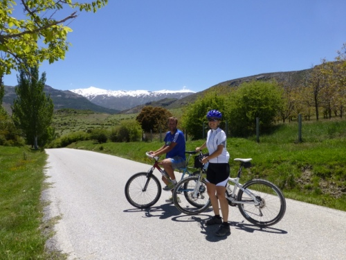Jonas and Elsa, taking a breather with the Sierra Nevada in the background.